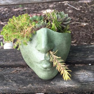 The Sassy Goddess Head planter is a handmade plant container of a half head available on Etsy.