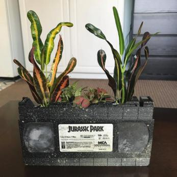 Recycled VHS indoor planter available on Etsy